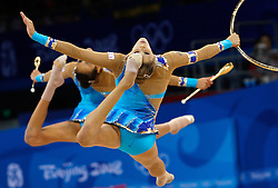 Italy's gymnastic team performs during the group all-around finals for rhythmic gymnastics during the Olympic games in Beijing, China, 24 August 2008. Russia won the gold for the event while China and Belarus take the silver and bronze respectively.