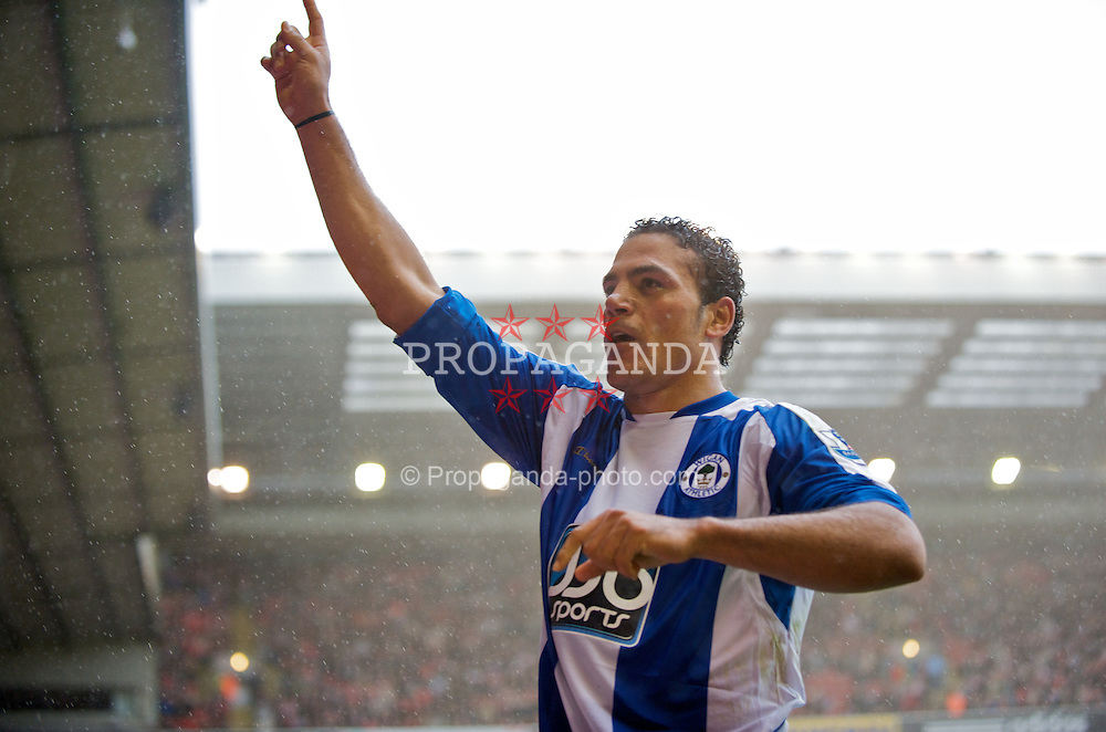 LIVERPOOL, ENGLAND - Saturday, October 18, 2008: Wigan Athletic's Amr Zaki celebrates scoring his second goal against Liverpool, to make the score 2-1, during the Premiership match at Anfield. (Photo by David Rawcliffe/Propaganda)