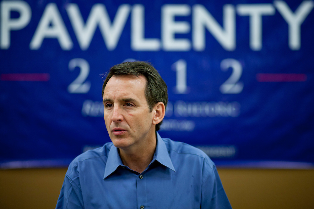 Republican presidential hopeful Tim Pawlenty campaigns on Tuesday, July 26, 2011 in Washington, IA.