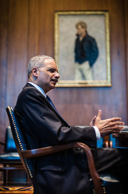 WASHINGTON, DC -- 6/3/14 -- Eric Holder during an interview in the U.S. Attorney's conference room at the Department of Justice. U.S. Attorney General Eric Holder talks about Stand Your Ground, Fair Sentencing and felony disenfranchisement laws. Photos of him in the Attorney General's office and conference room.…by André Chung #AC2_1581