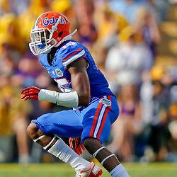 Oct 12, 2013; Baton Rouge, LA, USA; Florida Gators defensive back Loucheiz Purifoy (15) against the LSU Tigers during the first half of a game at Tiger Stadium. Mandatory Credit: Derick E. Hingle-USA TODAY Sports
