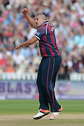Rory Kleinveldt during the NatWest T20 Blast semi final match between Northamptonshire County Cricket Club and Warwickshire County Cricket Club at Edgbaston, Birmingham, United Kingdom on 29 August 2015. Photo by David Vokes.