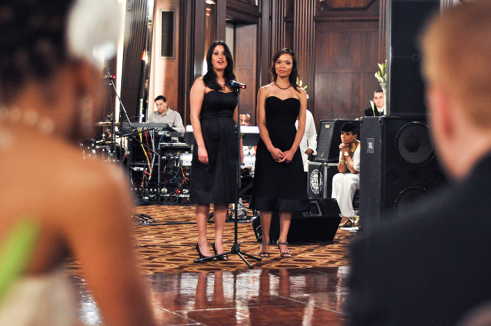 Uzoezi's bridesmaids deliver a tearful but joyful speech to the couple, Julia Morgan Ballroom, Merchant's Exchange, San Francisco