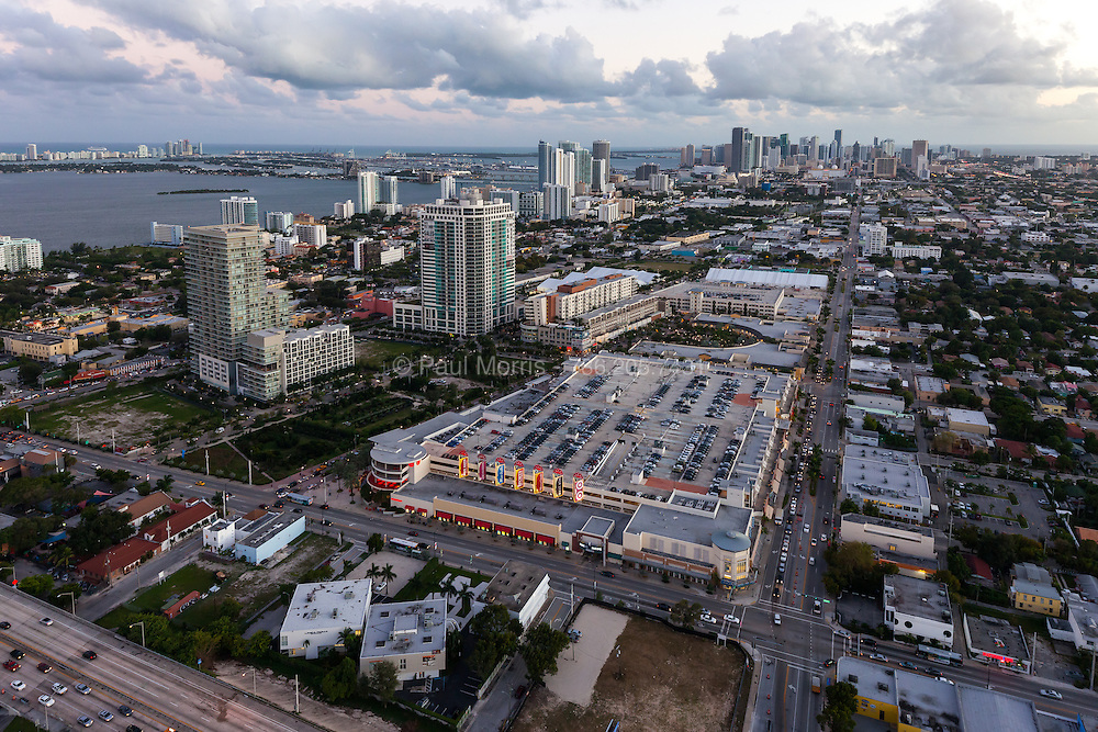 Aerial view of Midtown Miami with downtown and Biscayne Bay in the background.