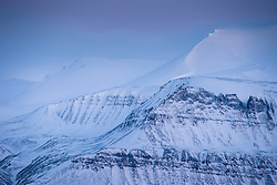 Svalbard mountains in Isfjorden, Svalbard, Norway