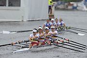 Henley, GREAT BRITAIN. Junior Women's Quadruple Scull. Canford School, leading, Tideway Scullers' School. in their Friday heat. 2012 Henley Royal Regatta. ..Friday  12:19:02  29/06/2012. [Mandatory Credit, Peter Spurrier/Intersport-images]...Rowing Courses, Henley Reach, Henley, ENGLAND . HRR.