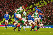 GOAL! - Christopher Jullien of Celtic FC connects with the cross and fires Celtic into the lead during the Betfred Scottish League Cup Final match between Rangers and Celtic at Hampden Park, Glasgow, United Kingdom on 8 December 2019.