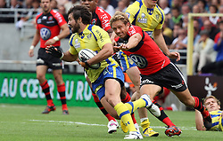 Jonny Wilkinson of Toulon chases Brock James of Clermont during the French Top 14 Semi Final match between ASM Clermont Auvergne and RC Toulon at the Stade de Toulouse on June 3, 2012 in Toulouse, France.