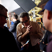 January 10, 2016 - New York, NY : Mars Incorporated enlisted the advertising agency BBDO -- as well as some notable Hollywood actors -- to create a 2016 Superbowl advertisement for their iconic Snickers candy bar at 19th Street Studios in Astoria, Queens, New York City on Sunday, Jan. 10. The actor Eugene Levy, center, and director Jim Jenkins, left, share a lighthearted moment backstage during a break in filming on Sunday morning.  CREDIT: Karsten Moran for The New York Times