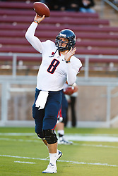 November 6, 2010; Stanford, CA, USA;  Arizona Wildcats quarterback Nick Foles (8) warms up before the game against the Stanford Cardinal at Stanford Stadium.