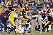 PITTSBURGH, PA - DECEMBER 4: Ike Taylor #24 and James Farrior #51 of the Pittsburgh Steelers break up a pass against A.J. Green #18 of the Cincinnati Bengals at Heinz Field on December 4, 2011 in Pittsburgh, Pennsylvania. The Steelers defeated the Bengals 35-7. (Photo by Joe Robbins) *** Local Caption *** Ike Taylor;James Farrior;A.J. Green