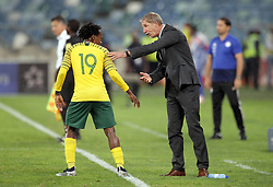 20112018 (Durban)<br /> A goalscorer Percy Tau with his coach Stuart Baxter during a match were Bafana Bafana and Paraguay have drawn 1-1 in the Nelson Mandela Challenge match played at Moses Mabhida Stadium in Durban on Tuesday evening.<br /> Picture: Motshwari Mofokeng/African News Agency (ANA)