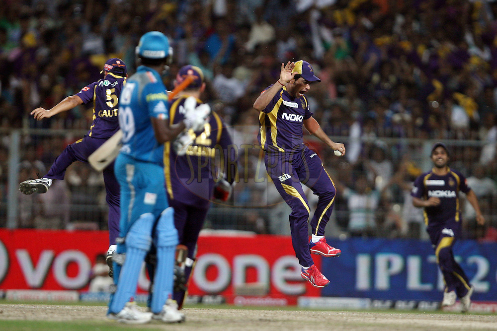 LR Shukla celebrates the wicket of Angelo Mathews with his teammates during match 47 of the the Indian Premier League ( IPL) 2012  between The Kolkata Knight Riders and The Pune Warriors India held at the Eden Gardens Stadium in Kolkata on the 5th May 2012..Photo by Jacques Rossouw/IPL/SPORTZPICS