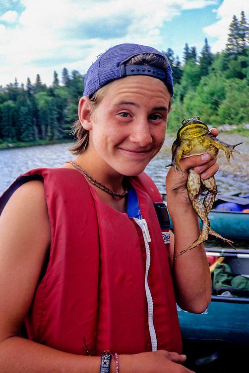 CANOEING, ALLAGASH WATERWAY, Joel with frog,