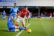 Peterborough Utd defender Jason Naismith (2) is adjudged to have fouled Charlton midfielder Josh Cullen (24) and a penalty was given during the EFL Sky Bet League 1 match between Peterborough United and Charlton Athletic at London Road, Peterborough, England on 26 January 2019.