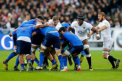 England Lock George Kruis and Lock Maro Itoje in action at the breakdown - Mandatory byline: Rogan Thomson/JMP - 19/03/2016 - RUGBY UNION - Stade de France - Paris, France - France v England - RBS 6 Nations 2016.
