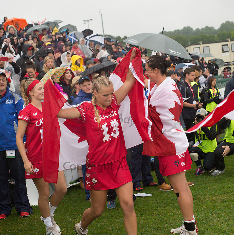 Canada's Lydia Sutton walks out for the medal presentation at the 2017 FIL Rathbones Women's Lacrosse World Cup, at Surrey Sports Park, Guildford, Surrey, UK, 22nd July 2017.