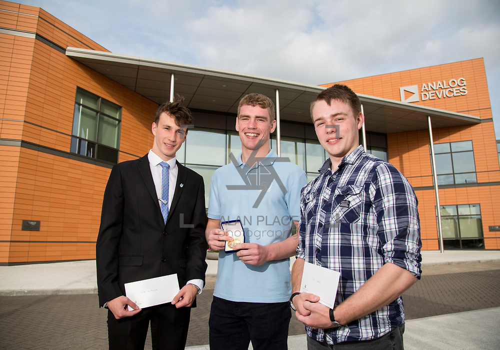31.05.2017      <br /> University of Limerick Analog Devices Robbie McAdam Awards.<br /> Robbie McAdam Award recipients, Cian McNamara, 3rd year, Gearoid Moore, Final Year and Robbie McAdam Medal recipient and Oisin Watkins, 2nd year. Picture: Alan Place.