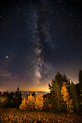"""Milky Way Over Lake Tahoe 4"" - Night time photograph of stars and the Milky Way above an aspen grove and Lake Tahoe."