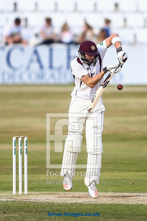 Rob Keogh of Northamptonshire CCC defends during the Specsavers County C'ship Div Two match at the County Ground, Northampton<br /> Picture by Andy Kearns/Focus Images Ltd 0781 864 4264<br /> 14/08/2016