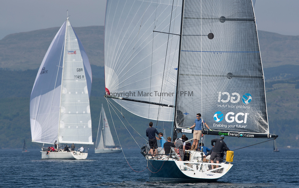 Silvers Marine Scottish Series 2017<br /> Tarbert Loch Fyne - Sailing<br /> <br /> Class 1 downwind with GBR7737R, Aurora, Rod Stuart / A Ram, CCC, Corby 37