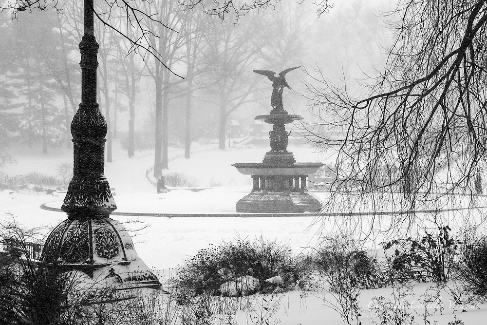 The Angel of the Waters of Bethesda Fountain in Central Park  during a snow storm.