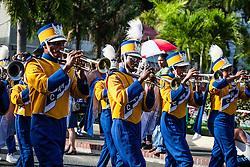 Charlotte Amalie High School Marching Band.  Veteran's Day Parade and Program at the Frankliin Delano Roosevelt Memorial Park in Charlotte Amalie.  St. Thomas.  11 November 2013.  © Aisha-Zakiya Boyd
