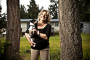 Judith Maswson (formerly Judith Ridgway), with her dog Babe.  Photographed in May 2011 by Brian Smale at Mawson's home in Graham, WA for People Magazine.   Judith Mawson was once married to Gary Ridgway (aka the Green River Killer).