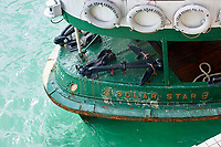 Detail on Star Ferry tied up at Central Pier Hong Kong Hong Kong August 2008