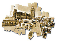 Sepia toned photo collage of the Houses of Parliament and Big Ben in London, England.