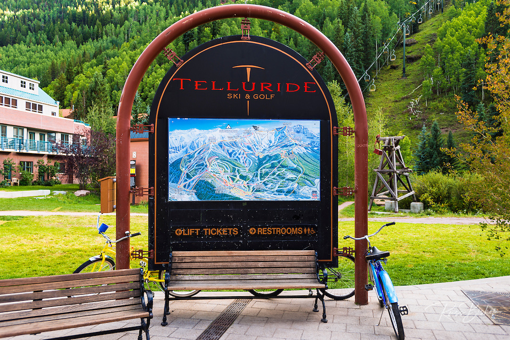 Ski resort trail map and chairlift, Telluride, Colorado USA