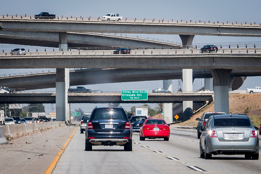 Car traffic heading up the I15 Highway through San Bernardino Valley in California. One fifth of the CO2 emissions in the US comes from commercial and private vehicles. California has long been the leader in incentives and strict rules to combat the emissions.