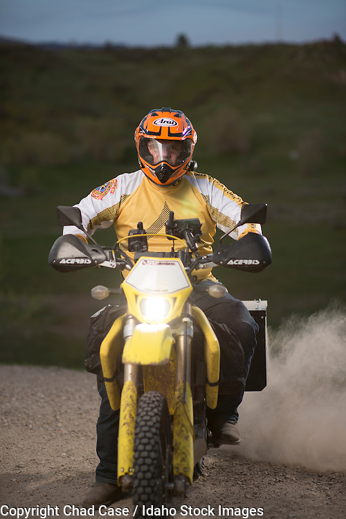 Motorcycle rider in the Boise foothills. Model released.