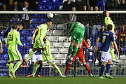 Birmingham City goalkeeper Tomasz Kuszczak (29) heads at goal during the Sky Bet Championship match between Birmingham City and Brighton and Hove Albion at St Andrews, Birmingham, England on 5 April 2016.