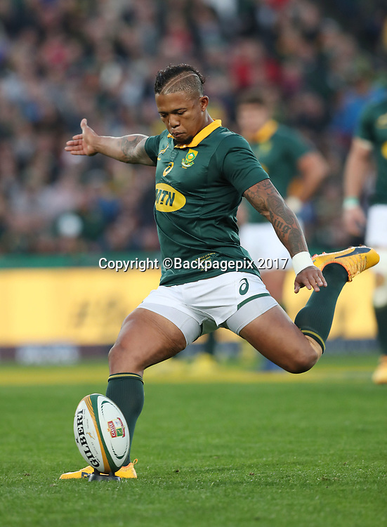 Elton Jantjies of South Africa  during the 2017 Incoming Rugby Series between South Africa and France at Ellis Park Stadium, Johannesburg, South Africa on 24 June 2017 @Gavin Barker/BackpagePix