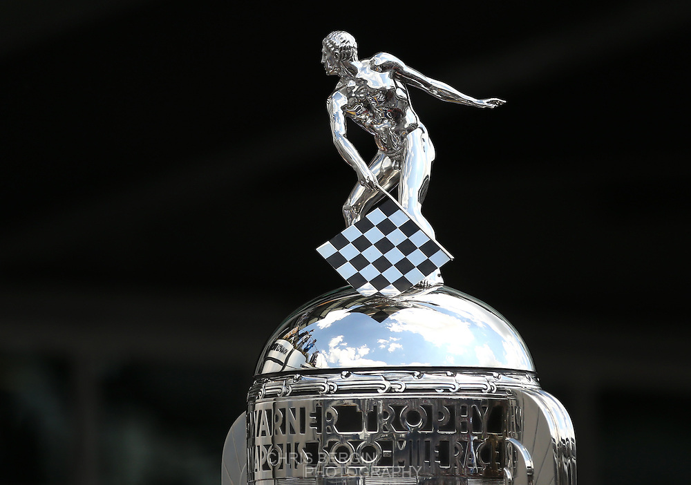 Borg Warner trophy on display during the 100th running of the Indianapolis 500 May 29, 2016.