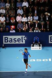 27.10.2012, St. Jakobshalle, Basel, SUI, ATP, Swiss Indoors, im Bild Roger Federer (SUI) // during ATP Swiss Indoors Tournament at the St. Jakobshall, Basel, Switzerland on 2012/10/27. EXPA Pictures © 2012, PhotoCredit: EXPA/ Freshfocus/ Daniela Frutiger..***** ATTENTION - for AUT, SLO, CRO, SRB, BIH only *****