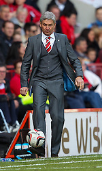 Charlton Athletic Head Coach, Jose Riga shows the best footwork of the first half - Photo mandatory by-line: Robin White/JMP - Tel: Mobile: 07966 386802 18/04/2014 - SPORT - FOOTBALL - The Valley - Charlton - Charlton Athletic v Bolton Wanderers - Sky Bet Championship