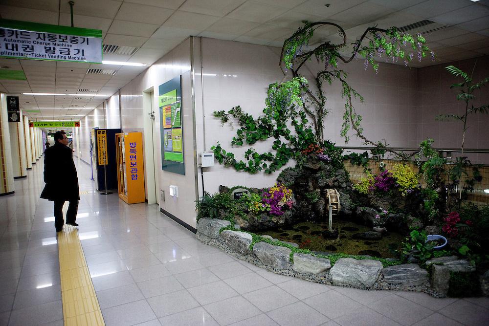 Interior of Busan subway station / Busan, South Korea, Republic of Korea, KOR, 13 February 2010.