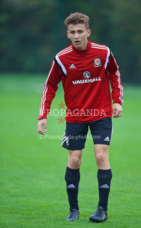NEWPORT, WALES - Monday, November 2, 2015: Wales' Brandon Oddy during a training session ahead of the Under-16's Victory Shield International match at Dragon Park. (Pic by David Rawcliffe/Propaganda)
