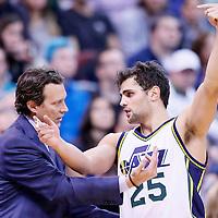 09 December 2015: Utah Jazz head coach Quin Snyder talks to Utah Jazz guard Raul Neto (25) during the Utah Jazz 106-85 victory over the New York Knicks, at the Vivint Smart Home Arena, Salt Lake City, Utah, USA.