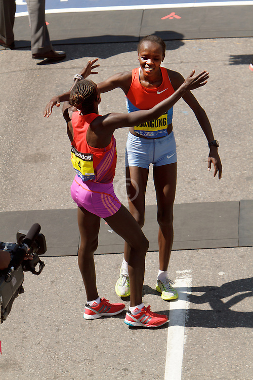 Cherop embraces Sumgong after finishing