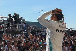 November 3, 2019, Austin, TX, USA: AUSTIN, TX - NOVEMBER 03: Mercedes AMG Petronas Motorsport driver Lewis Hamilton (44) of Great Britain is elated after clinching the FIA Formula 1 World Championship by placing second in the F1 - U.S. Grand Prix race at Circuit of The Americas on November 3, 2019 in Austin, Texas. (Photo by Ken Murray/Icon Sportswire) (Credit Image: © Ken Murray/Icon SMI via ZUMA Press)