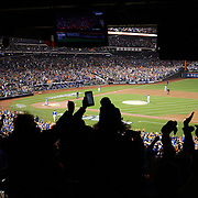 Curtis Granderson, New York Mets, runs the bases after hitting a home run off Edinson Volquez, Kansas City Royals, in the first inning during the New York Mets Vs Kansas City Royals, Game 5 of the MLB World Series at Citi Field, Queens, New York. USA. 1st November 2015. Photo Tim Clayton