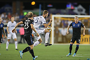 Philadelphia Union forward Kacper Przybylko (23) plays the ball near San Jose Earthquakes midfielder Florian Jungwirth (23) and midfielder Jackson Yueill (14) during an MLS soccer match won by Philadelphia 2-1, Wednesday, Sept. 25, 2019, in San Jose, Calif. (Peter Klein/Image of Sport)