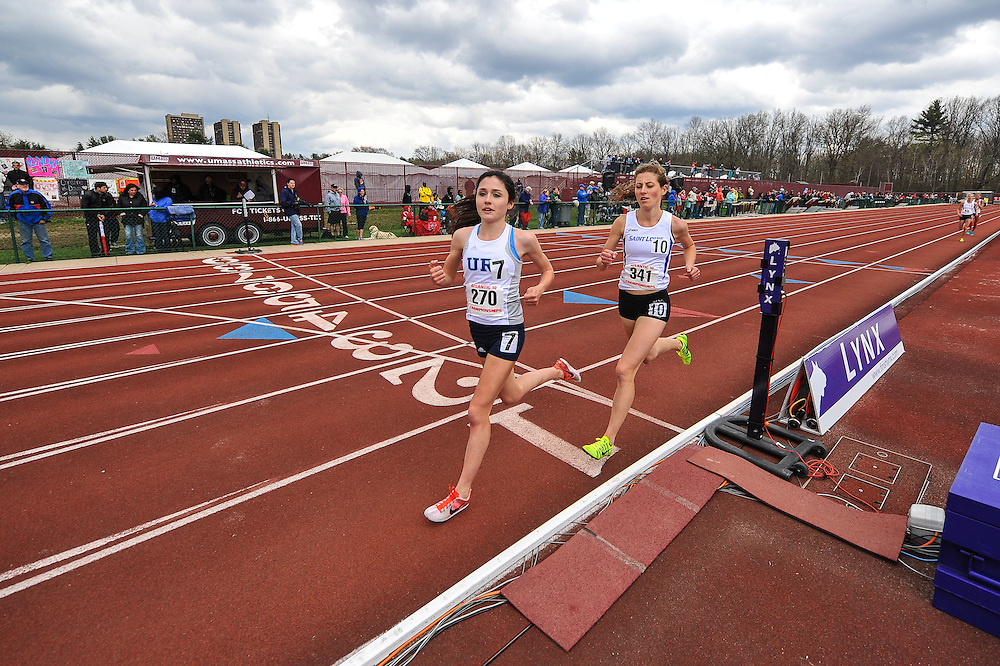 AMHERST, MA - MAY 4: Alexa Pelletier of the University of Rhode Island (270) and Annika Gomell of St. Louis University (341) competes in the women's 5,000 meter run during Day 2 of the Atlantic 10 Outdoor Track and Field Championships at the University of Massachusetts Amherst Track and Field Complex on May 4, 2014 in Amherst, Massachusetts. (Photo by Daniel Petty/Atlantic 10)