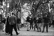 """Tea Leoni, Ricky Gervais, rehearsing on the location in Central Park, """"Ghost Town"""" (Dir: David Koepp, 2008)"""