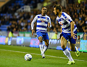 Jordan Obita passes to Orlando Sá during the Sky Bet Championship match between Reading and Derby County at the Madejski Stadium, Reading, England on 15 September 2015. Photo by David Charbit.