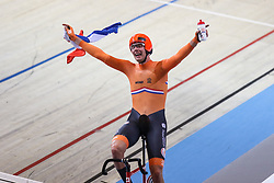 March 2, 2018 - Apeldoorn, Netherlands - Netherland's Jan Willem Van Schip celebrates during the men's points race final during the UCI Track Cycling World Championships in Apeldoorn on March 2, 2018. (Credit Image: © Foto Olimpik/NurPhoto via ZUMA Press)