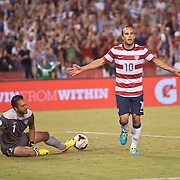 05 July 2013: US Men's National F Landon Donovan (10)  celebrates his goal during the International friendly soccer match between Guatemala and the USA Men's National team at Qualcomm Stadium in San Diego, CA